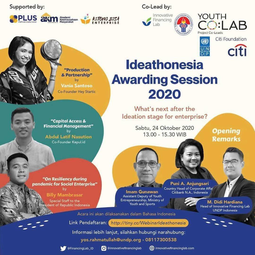 ✨Ideathonesia Awarding Session 2020✨ —— Sabtu, 24 Oktober 2020 13:00-15:00 WIB —— Sesi webinar kali ini mengenai tahap s...