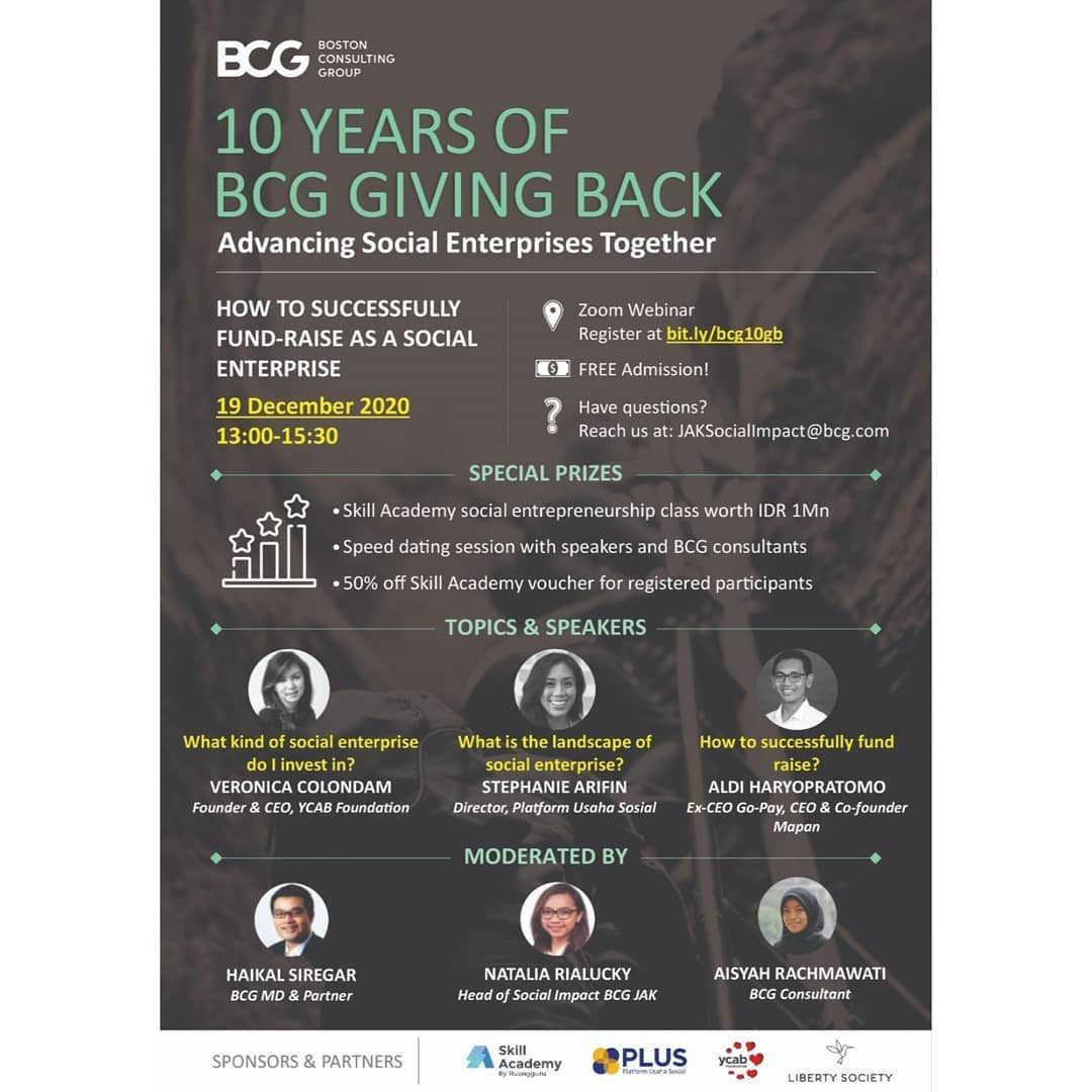A warm invitation for all Indonesian social enterprises and enthusiasts!  BCG Jakarta Social Impact is celebrating our 1...