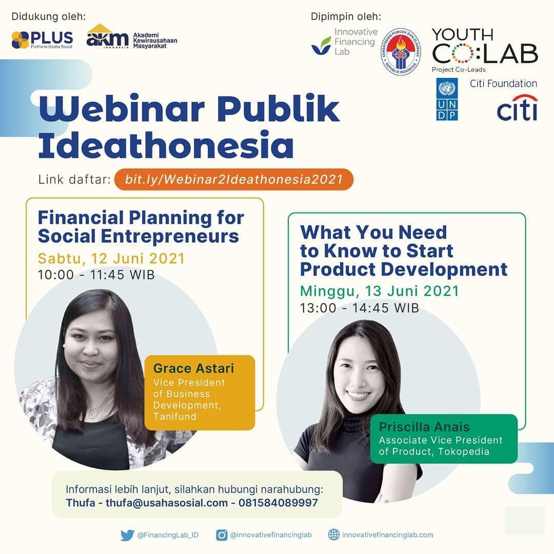 Webinar Publik Ideathonesia kembali! Ingin belajar tentang perencanan keuangan dan pengembangan produk langsung dari pak...